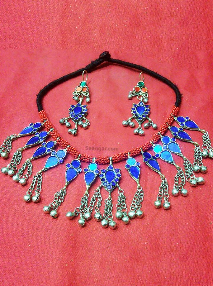 Moroccan Blue Thread Necklace & Hanging Earrings Set
